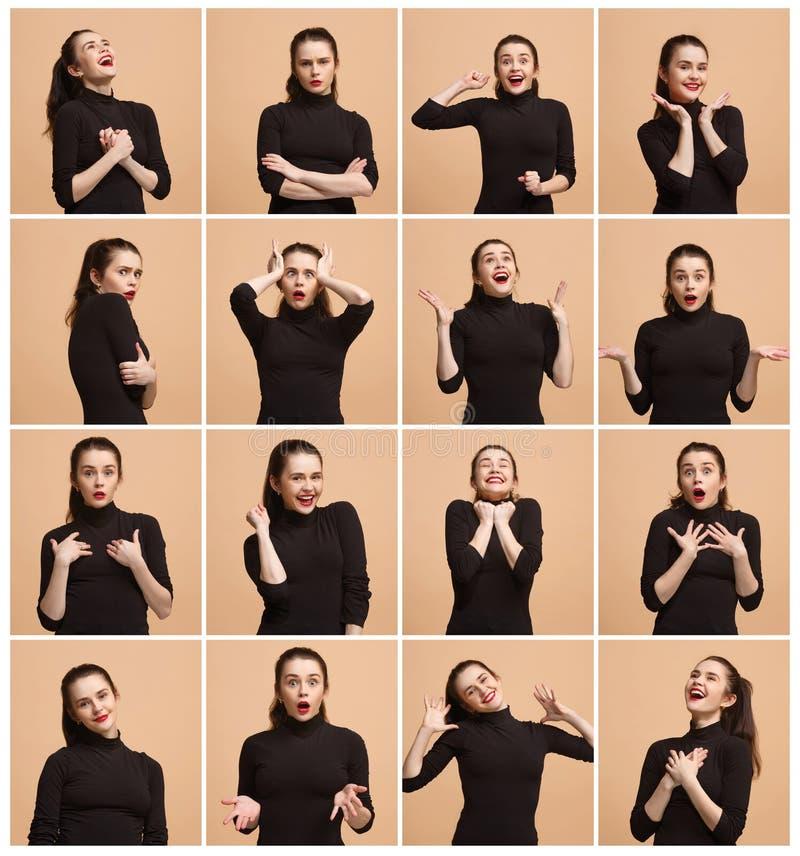 Collaget av olika mänskliga ansiktsuttryck, sinnesrörelser och känslor arkivfoto