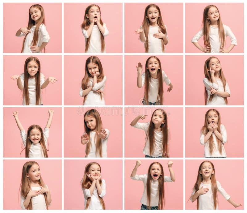Collaget av olika mänskliga ansiktsuttryck, sinnesrörelser och känslor av den unga tonåriga flickan royaltyfri fotografi