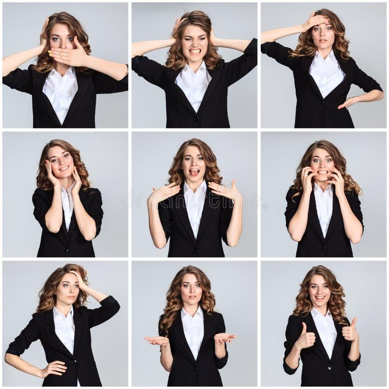 Collaget av ung kvinnas portraites med olika sinnesrörelser royaltyfri fotografi
