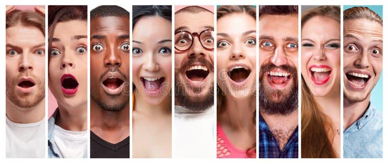 Collaget av unga kvinnor och män som ler framsidauttryck royaltyfria bilder
