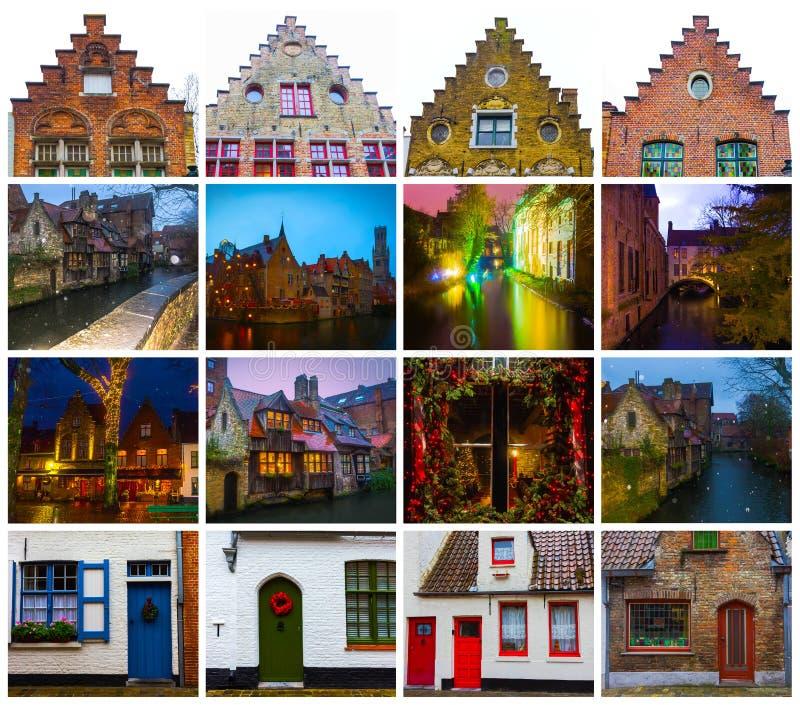Collaget från sikter av historiska medeltida byggnader längs en kanal i Bruges, Belgien arkivbilder