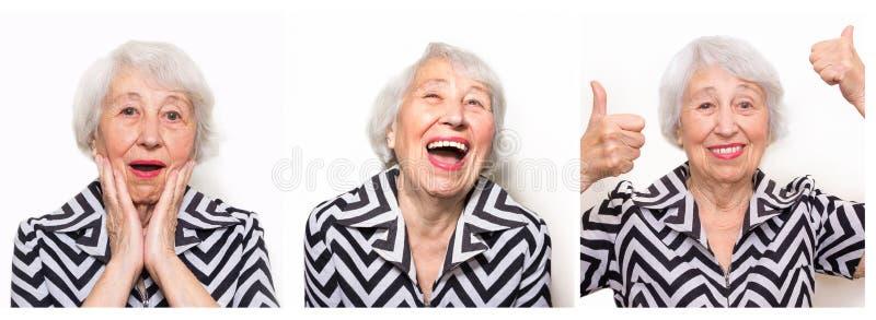Collaget fr?n olika sinnesr?relser av den h?ga kvinnan royaltyfri foto