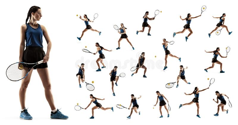 Collaget om den unga kvinnan som spelar tennis som isoleras på vit bakgrund arkivbilder
