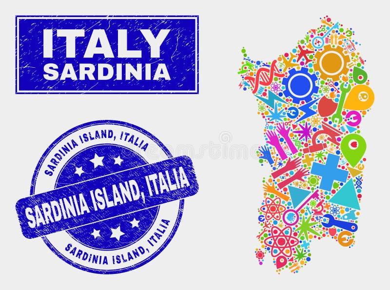 CollageteknologiSardinia översikt och vattenstämpel för nödlägeSardinia ö, Italia vektor illustrationer