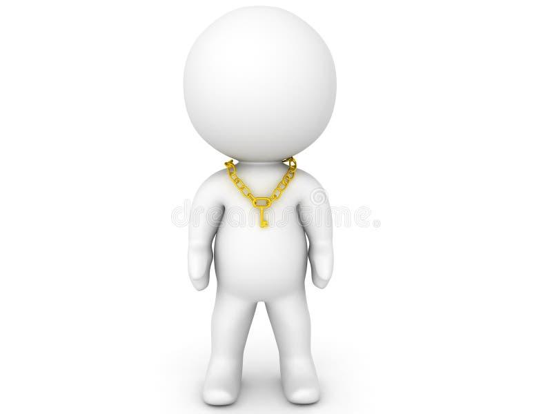 collana chiave d'uso del carattere 3D intorno al suo collo illustrazione di stock