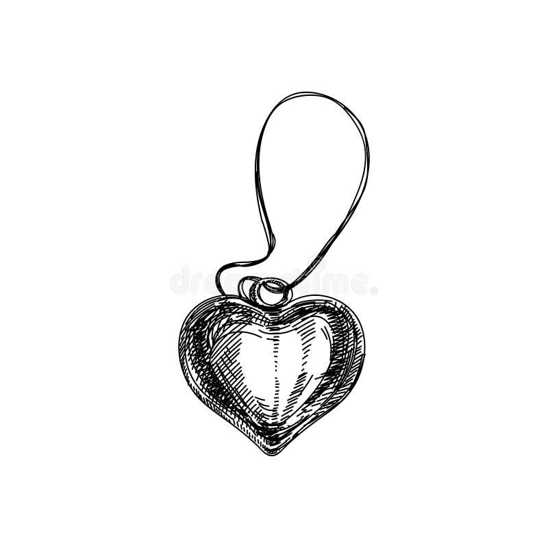 Collana d'annata disegnata a mano di bello vettore con il heartIllustration illustrazione di stock
