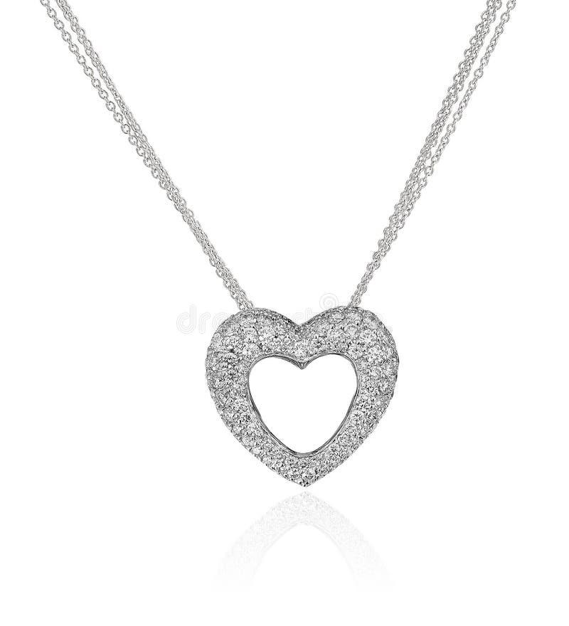 Collana del cuore del diamante. fotografia stock libera da diritti