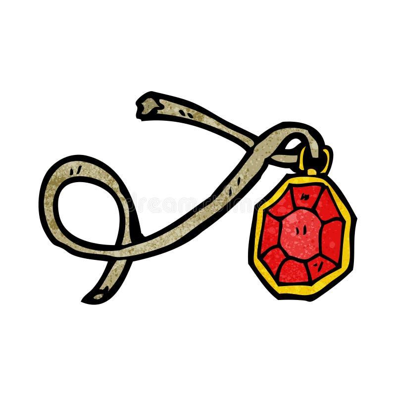 collana del rubino del fumetto illustrazione di stock