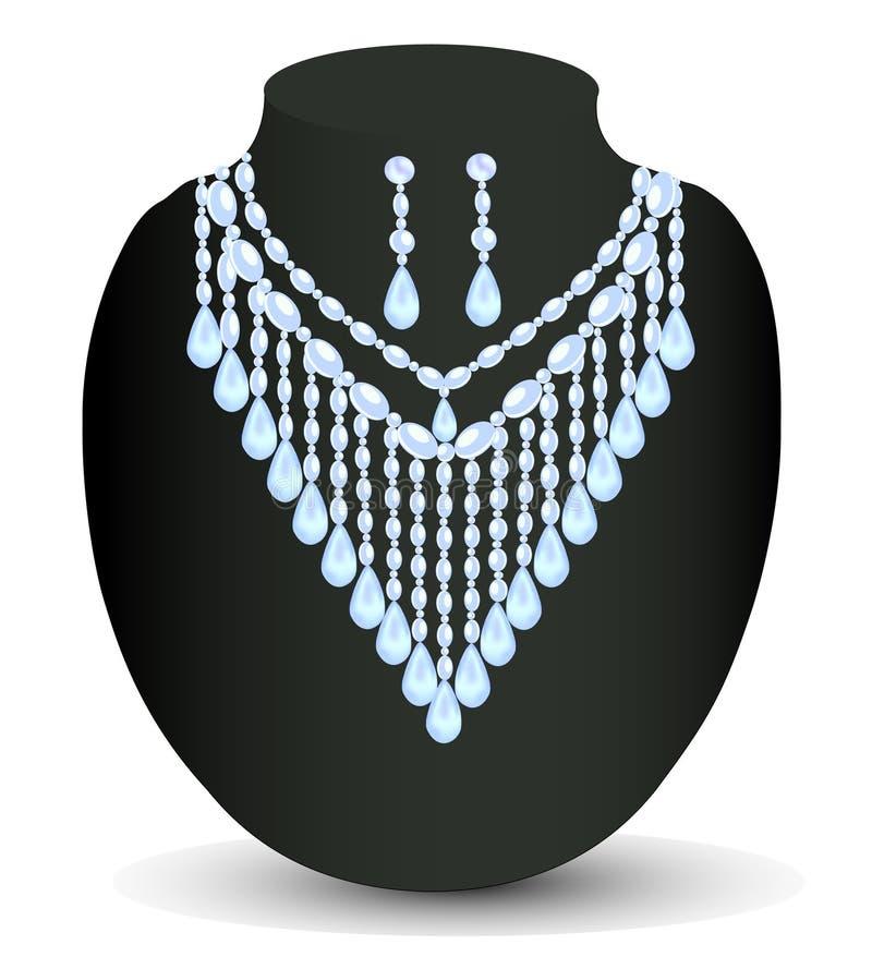 Collana del ` s della donna con le pietre preziose illustrazione di stock