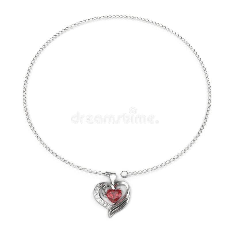 Collana dell'oro con il pendente del cuore con i diamanti ed i rubini isolati sul bianco illustrazione 3D immagine stock