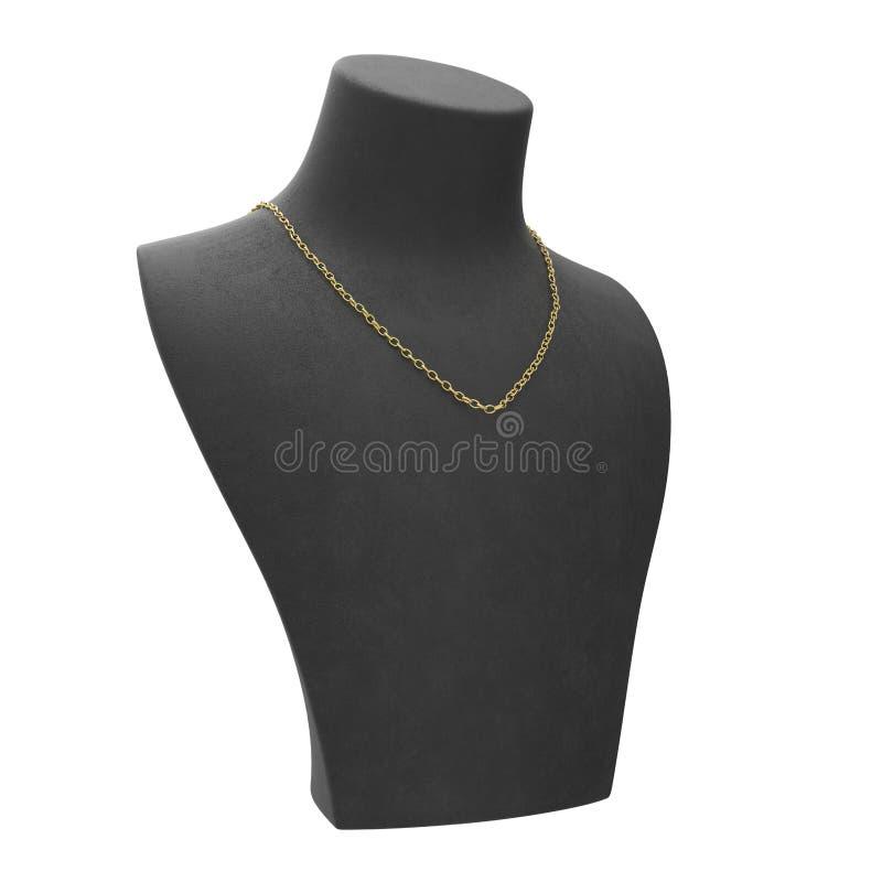 collana della catena isolata illustrazione dell'oro giallo 3D su una m. nera illustrazione vettoriale