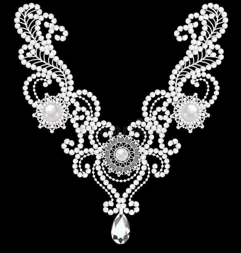 collana della donna dei gioielli con le perle royalty illustrazione gratis