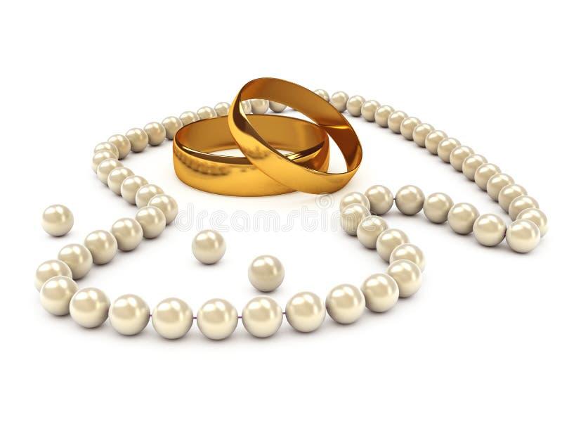 Collana della perla con gli anelli di oro illustrazione vettoriale