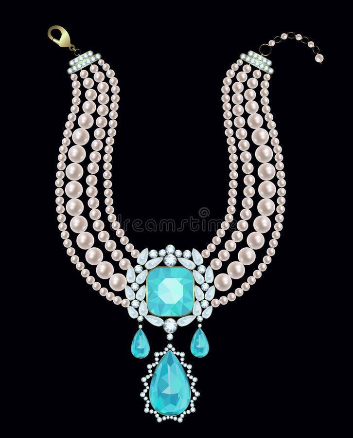 Collana della perla con il pendente illustrazione di stock