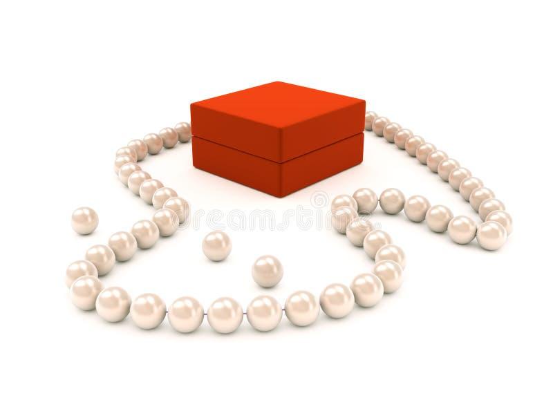 Collana della perla con la casella rossa illustrazione di stock
