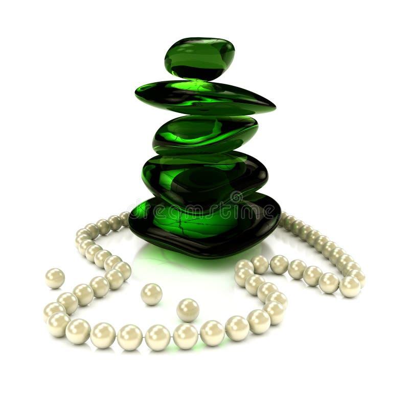 Collana della perla con vetro verde illustrazione vettoriale