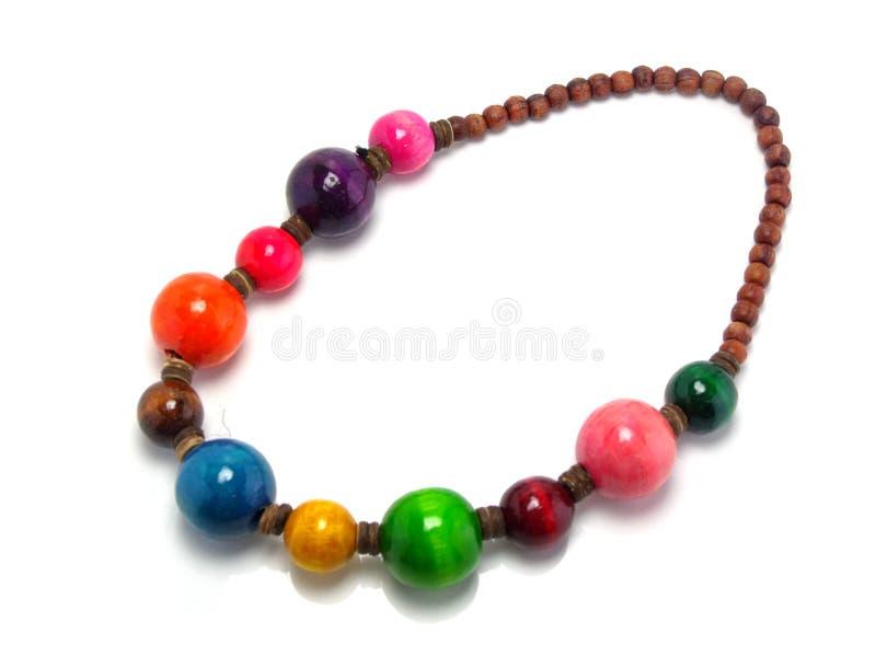 Collana di legno variopinta della perla fotografia stock