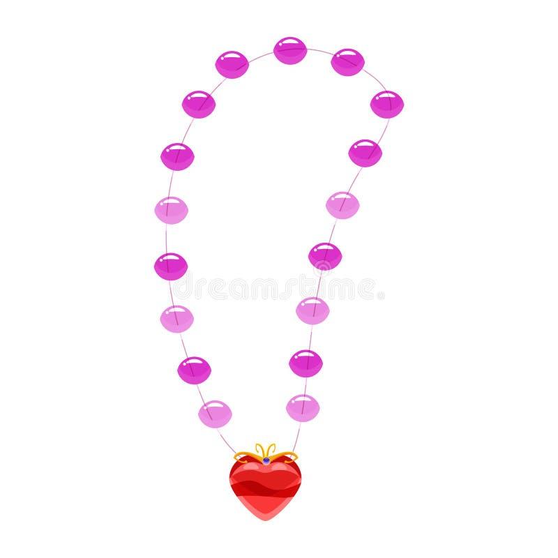 Collana di principessa, perle, pendente in forma di cuore, pietre preziose Vettore, illustrazione, stile del fumetto, isolato royalty illustrazione gratis