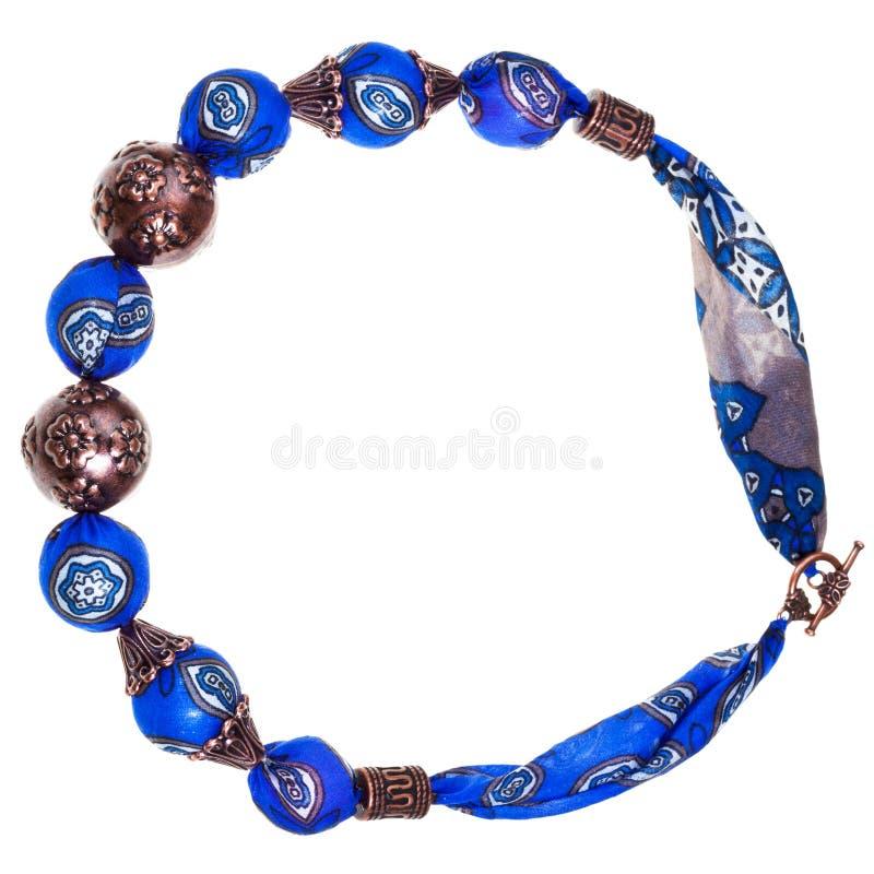 Collana di seta blu delle donne immagine stock