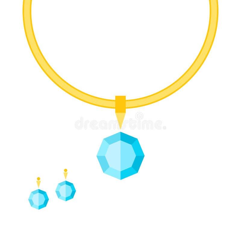Collana ed orecchini con le pietre royalty illustrazione gratis