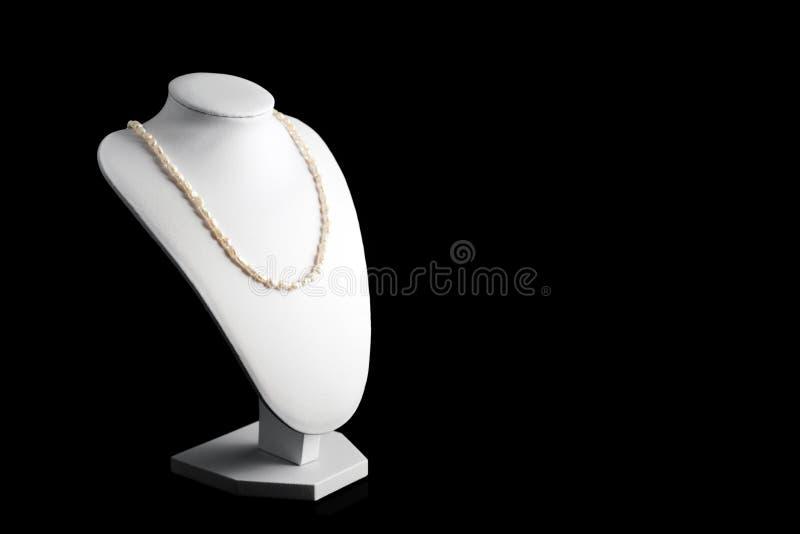 Collana fatta delle perle naturali su un supporto Accessori delle donne fotografia stock libera da diritti