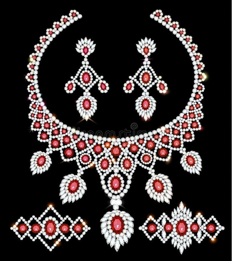 collana, orecchini e braccialetti dell'insieme dei gioielli con i rubini ed i diamanti illustrazione di stock