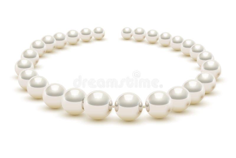 Collana realistica brillante della perla su fondo bianco royalty illustrazione gratis