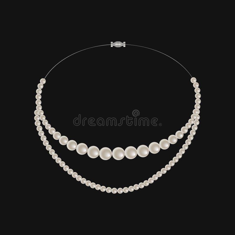 Collana realistica della perla isolata su fondo nero royalty illustrazione gratis