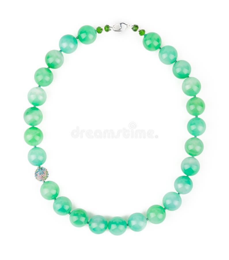 Collana verde chiaro del Chalcedony fotografia stock libera da diritti
