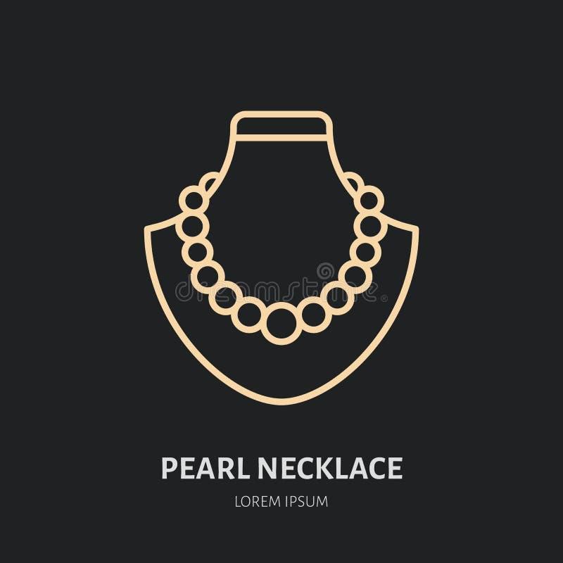 Collane della perla sull'illustrazione fittizia Linea piana icona, logo dei gioielli della gioielleria Jewels il segno degli acce royalty illustrazione gratis