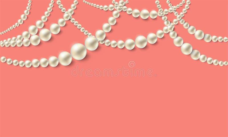 Collane realistiche della perla sopra fondo di corallo d'avanguardia Modello del lusso di vettore illustrazione di stock