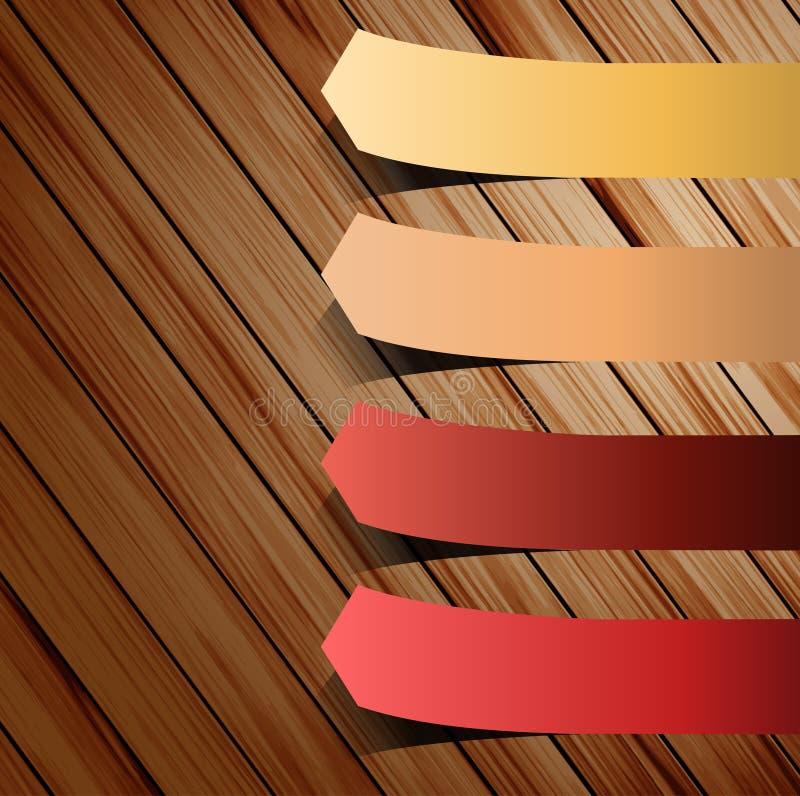 Collant coloré de présentations sur le bois illustration libre de droits