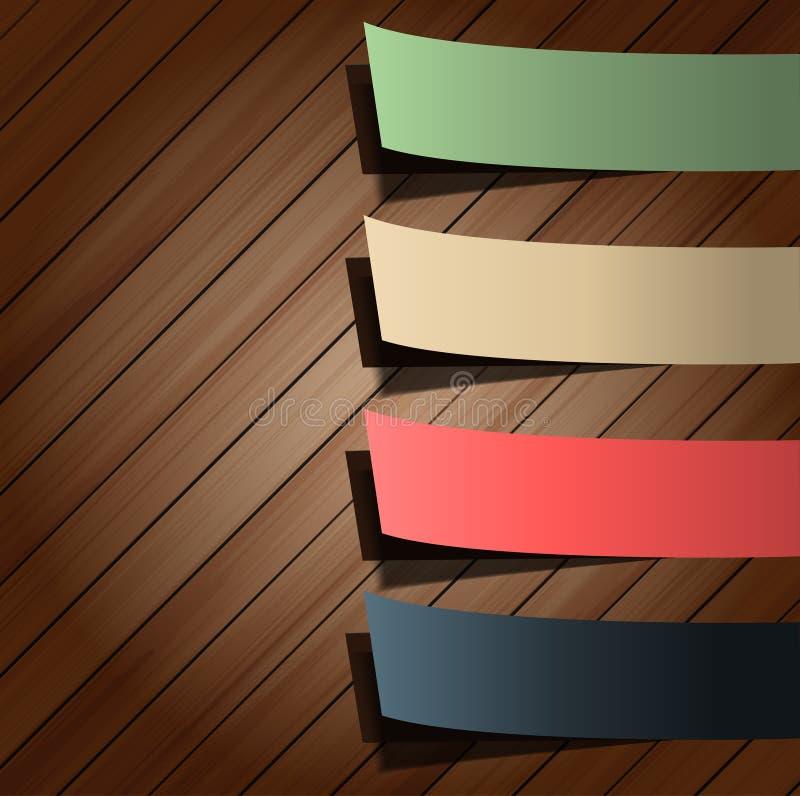 Collant coloré de présentations sur le bois illustration de vecteur