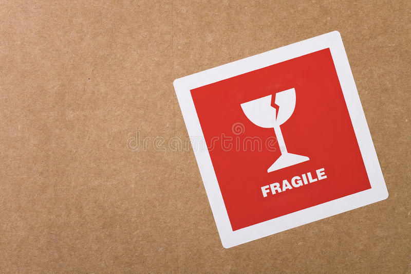 Collant fragile avec l'espace de copie photographie stock