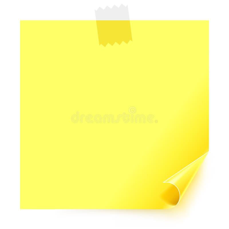 Collant jaune avec le coin enroulé illustration libre de droits