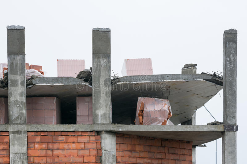 Download The Collapse Of The Floor Slab In Construction Of The House Stock Image - Image of damage, improper: 83710253