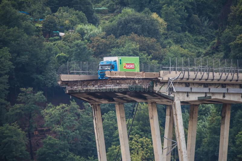 Collapse of Morandi bridge in Genoa, Italy. The collapsed bridge Morandi, the A10 highway suspension bridge in the city of Genova, Italia. Collapsed on the 14th royalty free stock photography