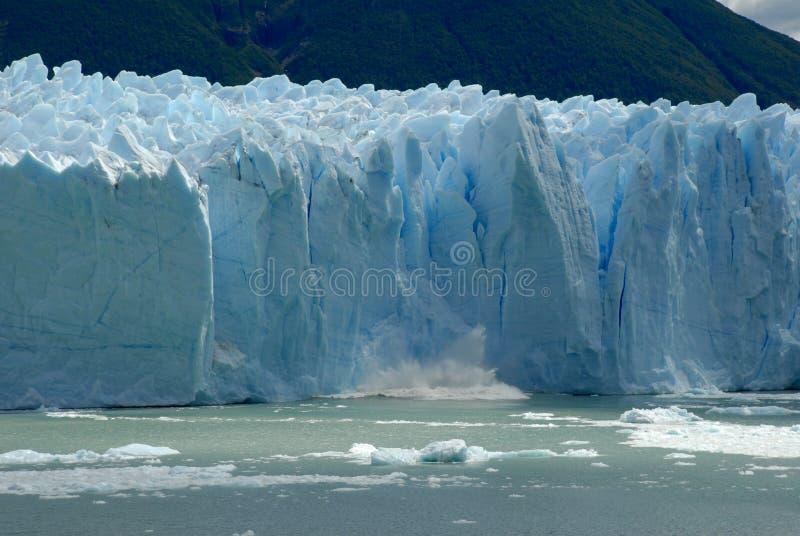 Collapse on the Perito Moreno Glacier royalty free stock images