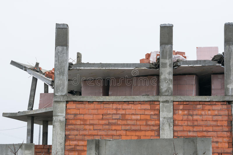 Download Collapse Of The Roof Of The House Under Construction Stock Photo - Image: 83710199