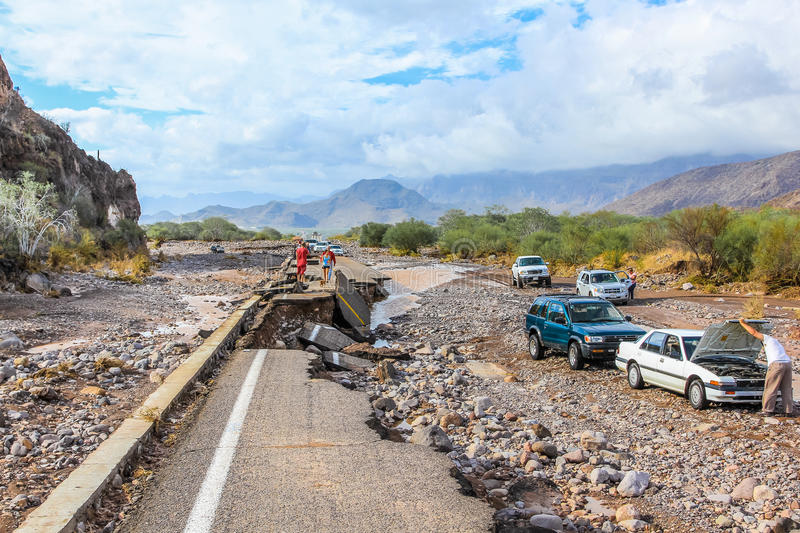 Collapsed highway. Linking La Paz to Loreto during the tropical storm named Juliette, 28 August 2013, Nopolo, Baja California Sur, Mexico stock photos