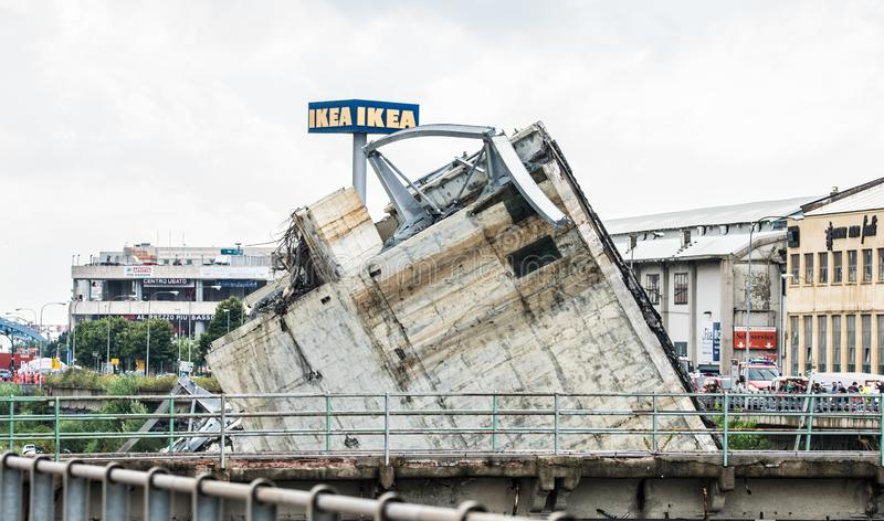 Collapse of Morandi bridge in Genoa, Italy. The collapsed bridge Morandi, the A10 highway suspension bridge in the city of Genova, Italia. Collapsed on the 14th royalty free stock image