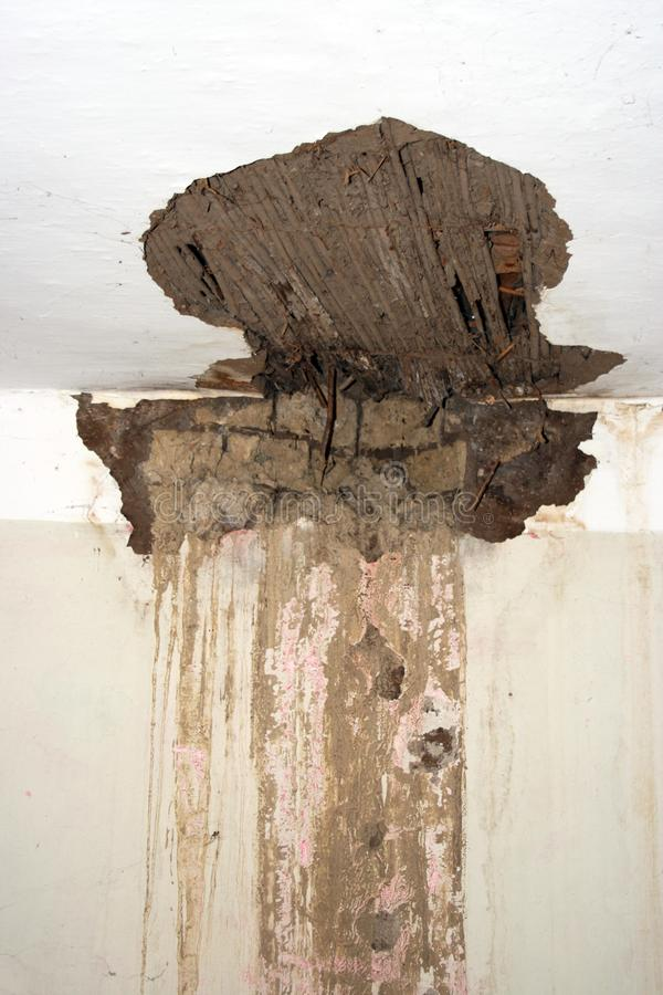 Collapsed ceiling. Old construction with reeds and mud royalty free stock images