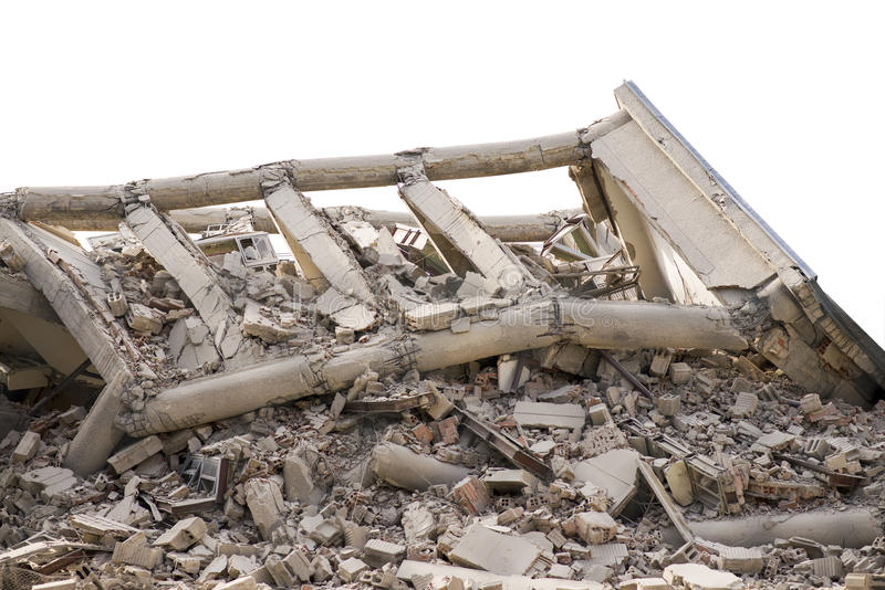 Collapsed concrete buildings isolated. Collapsed concrete buildings with dust, water, ruins royalty free stock image