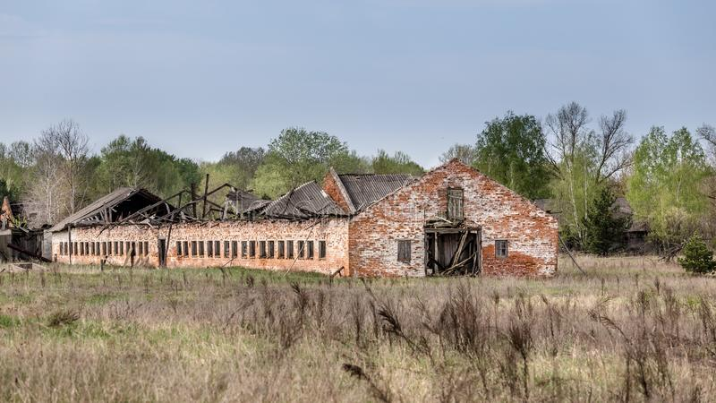 Collapsed farm in Chernobyl. Collapsed farm stable in Belarus Chernobyl exclusion zone royalty free stock images