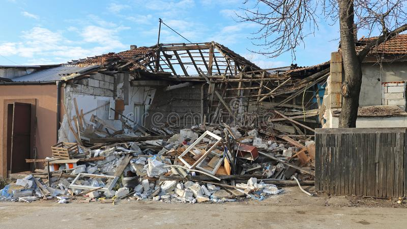 Collapsed House. Collapsed One Story House Earthquake Natural Disaster royalty free stock photography