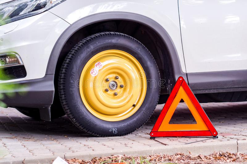 Collapsible spare tyre royalty free stock photography