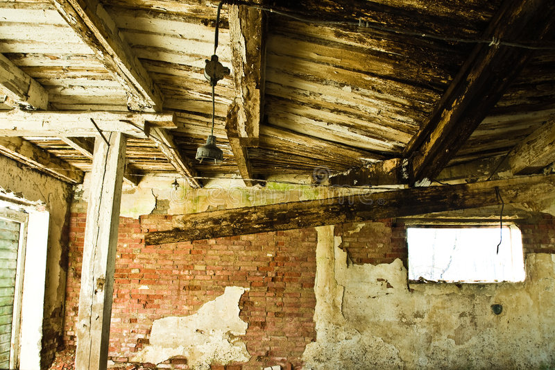 Collapsing roof of old barn royalty free stock images
