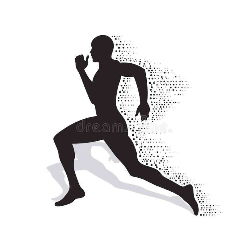 Collapsing silhouette of the running athlete royalty free illustration