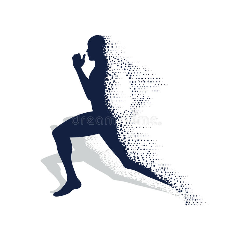 Collapsing silhouette of the running athlete stock illustration