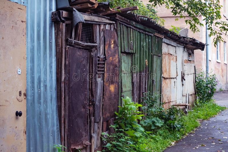 Collapsing walls of the old courtyard. Houses, streets and views of the central part royalty free stock photography